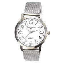Men's Women's Casual White Dial Business Watches Stainless Steel Wristband Man Ladies Round Analog Quartz Wrist Watch