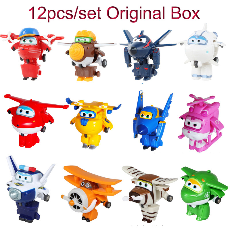 12pcs set Super Wings Mini Airplane ABS Robot toys Action Figures Super Wing Transformation Jet Animation