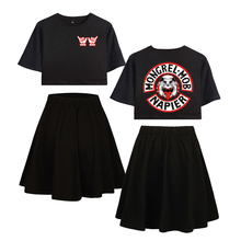 LUCKYFRIDAYF Kpop Summer Mongrel Mob Pop Short skirt suit Fashion Womens Dress Cool Idol Print Women Clothes Plus 2XL
