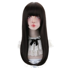 Free Beauty Long Straight Synthetic Black Strawberry Blonde Hair Wigs with Bangs for Women Lolita Cosplay Costume Halloween