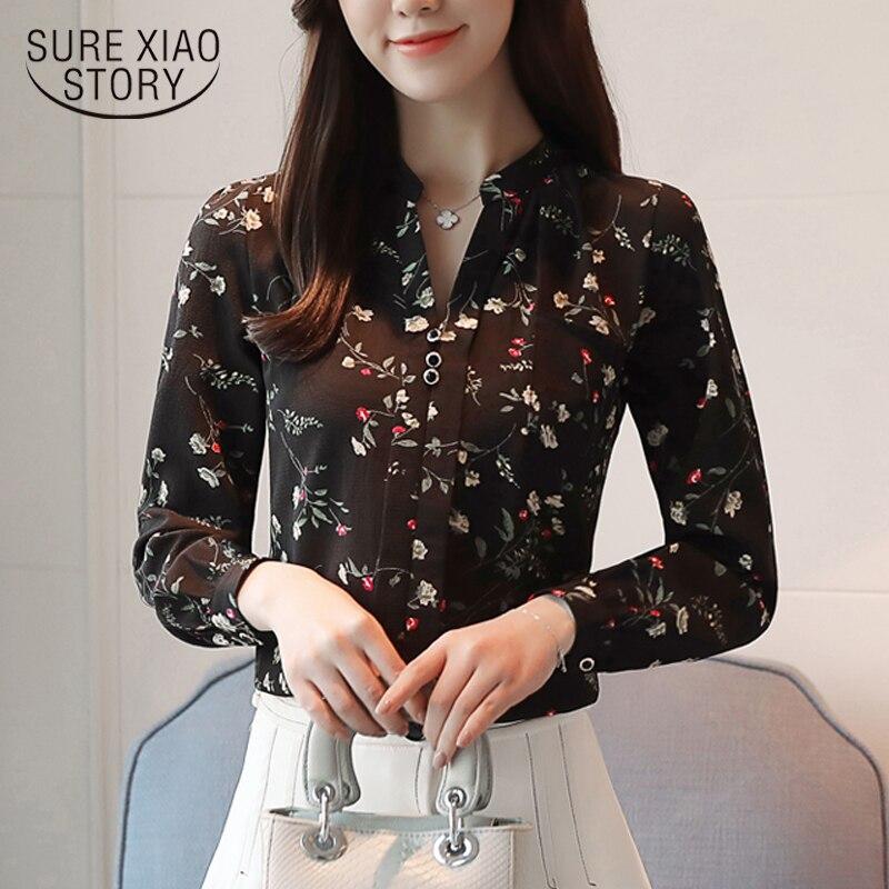 New 2018 Fashion Chiffon Women   Blouse     Shirt   Long Sleeve Print   Blouse   Female   Shirt   Office Lady   Shirt   Lady Tops   Blouses   Z0001 40
