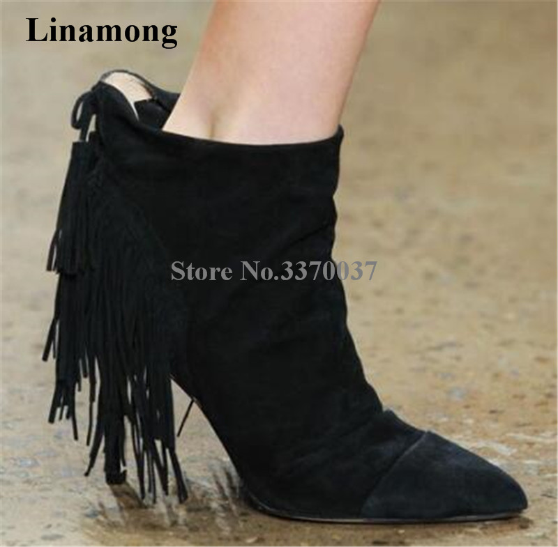 Newest Fashion Women Pointed Toe Suede Leather Back Tassels Thin Heel Short Boots Black Camel Fringes High Heel Ankle Boots camel camel boots cowhide thick heel rivet velvet fashion pointed toe boots vintage casual thermal boots