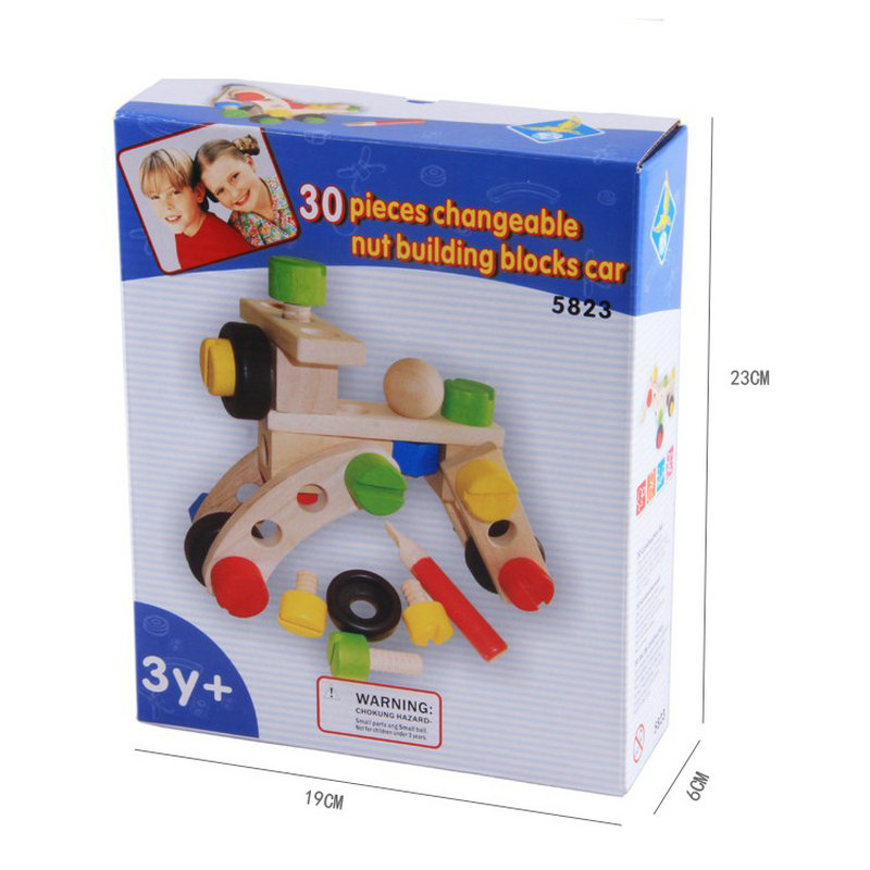 Free shipping Children wooden Models & Building Blocks Toy changeable nut car toy, Kids Disassembling combination Blocks Car