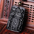 Natural obsidian carving Guan Gong pendants men domineering Lucky obsidian pendant necklace jewelry wholesale