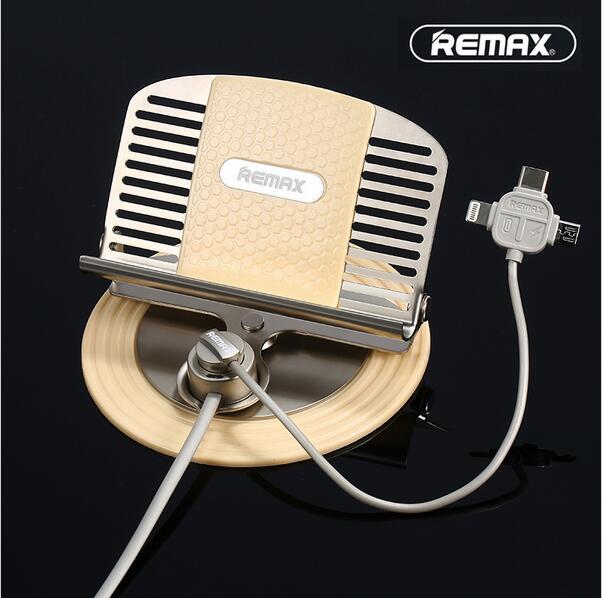 imágenes para Remax Universal Sostenedor Del Teléfono Del Coche con 3 en 1 usb cable de carga para iphone/android phones/tipo c teléfonos