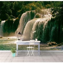 Customized high-end wallpaper beautiful photography waterfall water and wealth background wall waterproof material