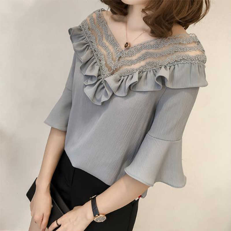 2019 Short Sleeve Chiffon Women Blouse Lace Patchwork Shirt White Blouses V-neck Tops Sexy Hollow Out Plus Size 4XL Blusas