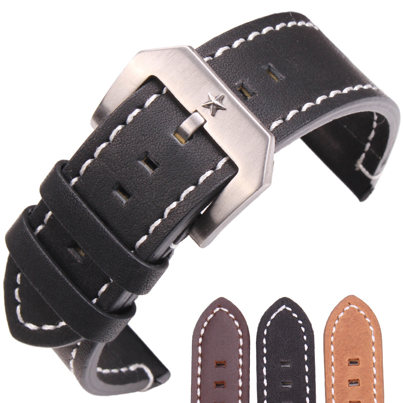 Genuine Leather Watch Band Strap 24mm Black Dark Brown Women Men Bracelet Belt With Silver Metal Pentagram Buckle For Panerai amumu guitar strap sbr memory foam plus rubber band belt with genuine leather ends 110 130cm s529