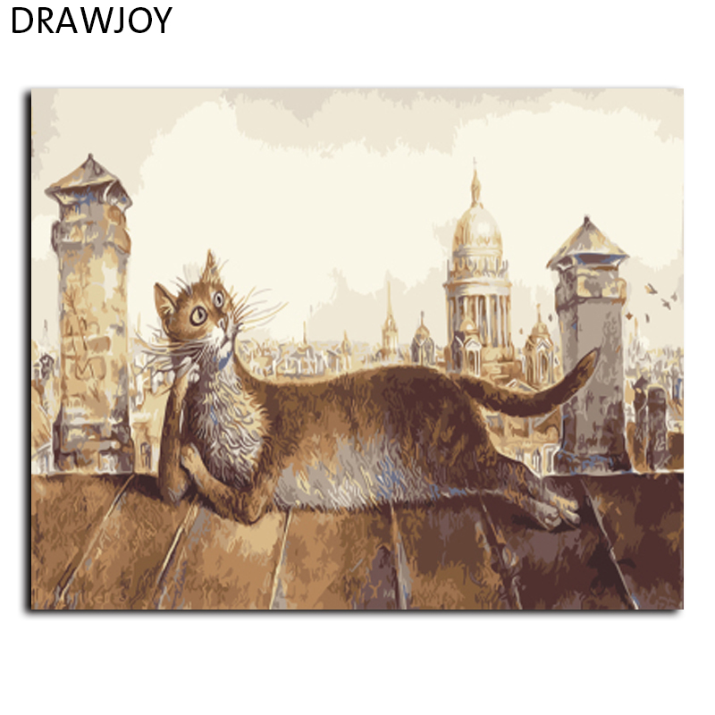DRAWJOY Framed DIY Painting By Numbers Home Decor DIY Canvas Oil Painting of Abstract Cat For Living Room GX9619 40*50cm