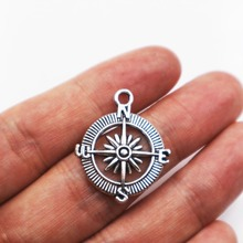 10pcs Tibetan Silver Plated compass Charms compass pendant for boho jewelry DIY 30*25*3mm round aluminum compass silver