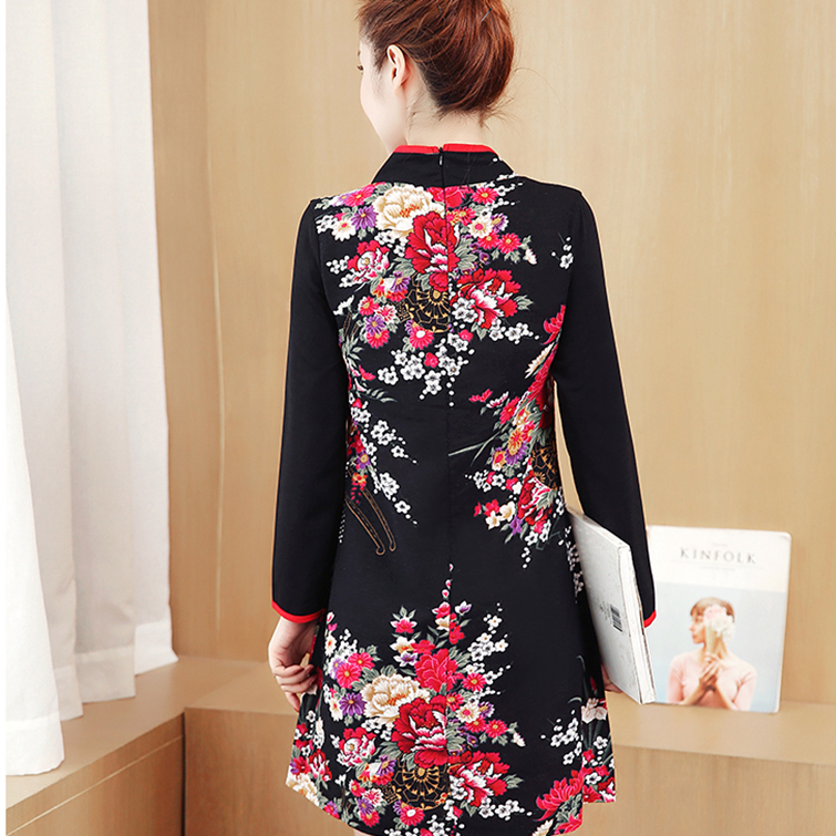 Maternity dress autumn new collar collar cheongsam wedding dress national wind pregnant women autumn dress