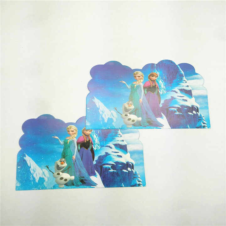 10pcs/lot cartoon frozen snow queen birthday party decorate invitation cards invite people kids post cards event festival