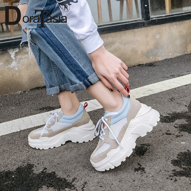 DoraTasia Spring New Fresh mixed-color Women Dad Shoes 2019 Genuine   Leather     Suede   Thick Platform Sneakers Lady Wide Shoes Woman