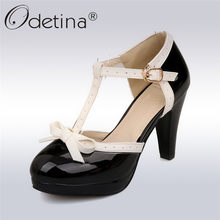 4aff7d7c2 Odetina Novas Mulheres T cinta-Sapatos De Salto Alto Arco Plataforma Dedo  Do Pé Redondo