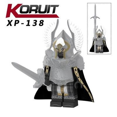 100 sztuk XP138 Fountain_Guard figurka żołnierz gondoru rycerz włócznia miecz klocki klocki zabawki w Klocki od Zabawki i hobby na  Grupa 1