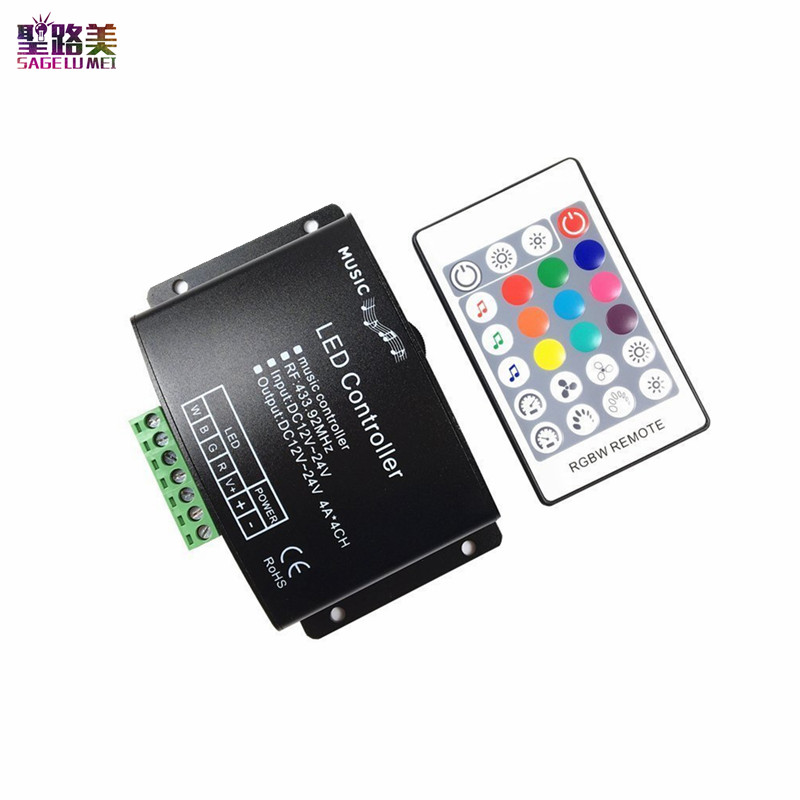 DC12V-24V 24Keys RGB / RGBW Music LED Controller RF Remote Sound Sensor Voice Audio Control For 5050 RGB LED Strip Light Tape led wifi controller 4 0 bluetooth control 5050 rgbw rgb led strip tape 24 keys remote ios android phone light controler dc12v