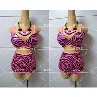 FREE SHIPPING Sexy Queen Custom Made Dance Essential Rose Red Zebra Fluorescence Pink Corset Shorts Suits