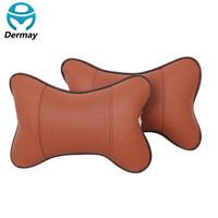 DERMAY Premium PU Leather Car Headrest Pillows (2PCS)