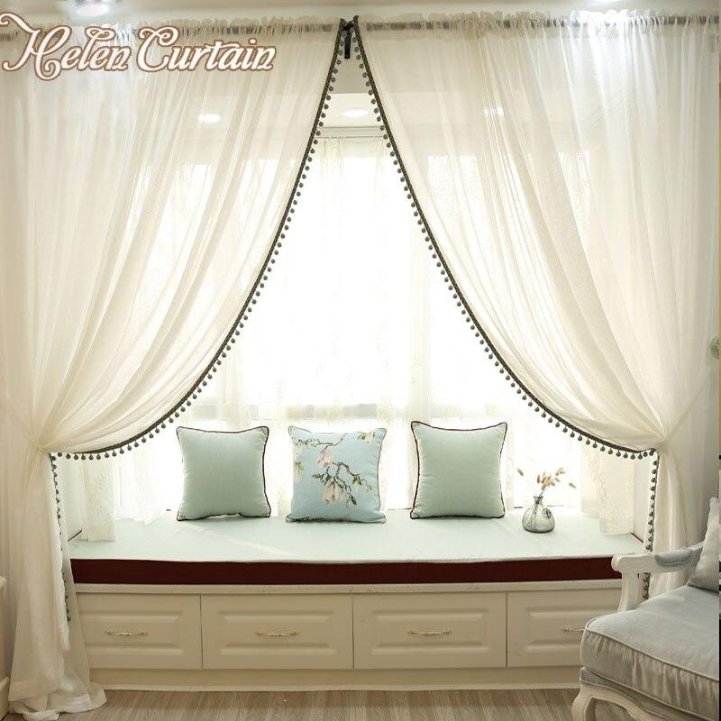 Helen Cortina de Lino blanco de tul cortinas para la sala de estar cortinas de v