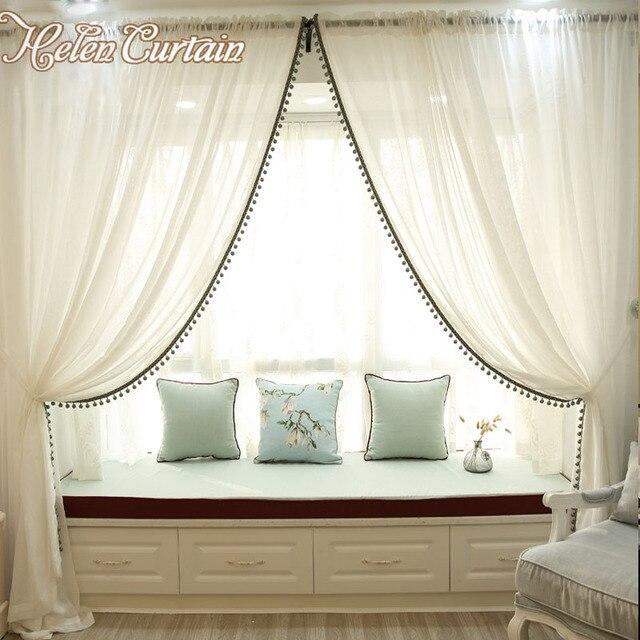 Helen Tenda di Lino bianco tulle tende per il salone brevi tende ...