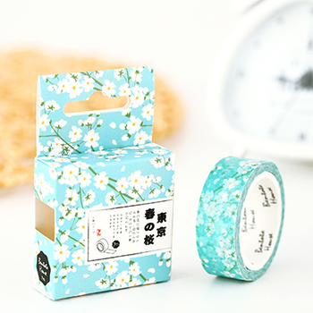 Cherry Blossoms Spring Lotkawaii Flower Food Animals Decorative Washi Tape DIY Scrapbooking Masking Tape School Office Supply Office Adhesive Tape