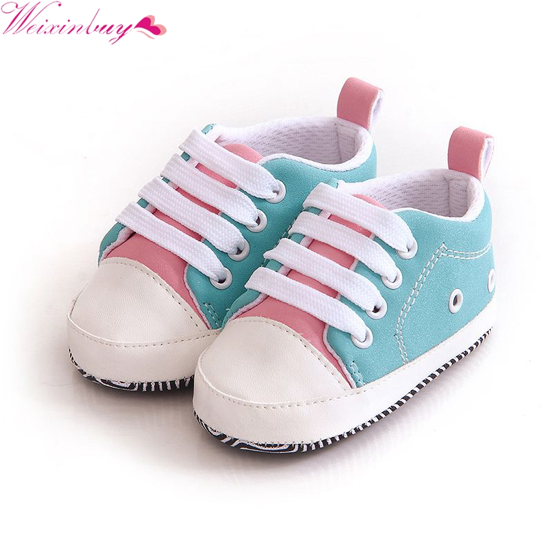 Lovely Baby Boys Girls Sneakers Newborn Baby First Walkers Crib Shoes Girls Toddler Laces Soft Sole Shoes For Christmas Gift