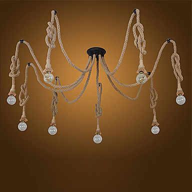 8 голов стиль лофт промышленный подвесной светильник столовая пеньковая веревка лампа винтажный светодиодный светильник Эдисона стиль