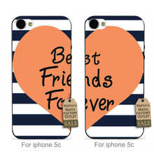 Best friends forever love heart stripes 1 lovely Plastic Hard couple phone Accessories Case For case iPhone 5c