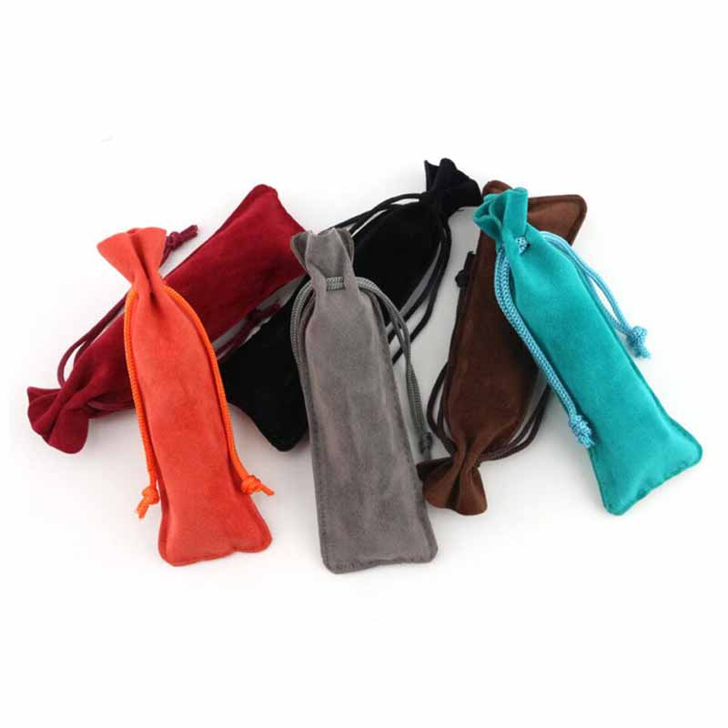 5pcs/lot Rectangle Drawable Velvet Make Up Package Bags 13x4.5cm Colorful Wedding Christmas Storage Bags Jewelry Gift Pouches