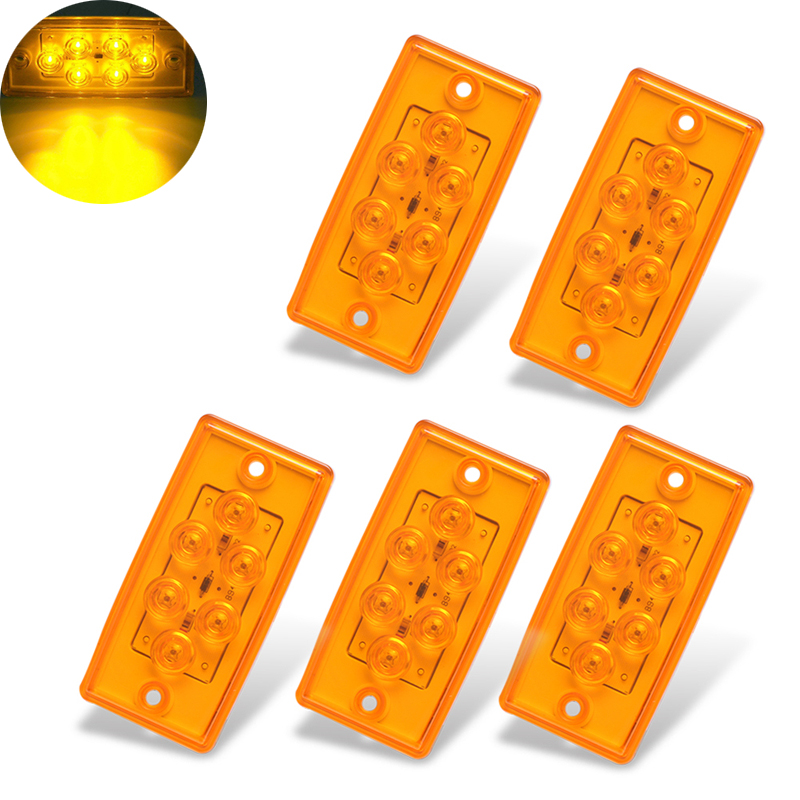 5Pcs Rectangle 6LED Cab Roof Top Clearance Lamp Side Marker Lights for 12V Freightliner Truck Trailer RV in Signal Lamp from Automobiles Motorcycles
