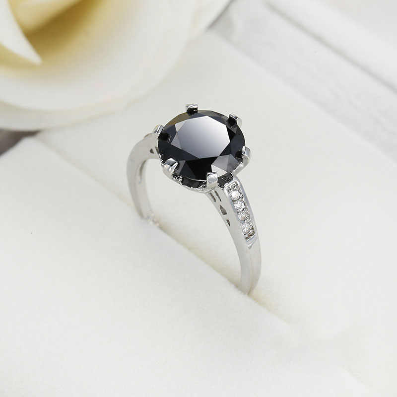 Новое Винтажное кольцо из белого золота с круглым натуральным черным камнем для женщин, ювелирные украшения, подарки на годовщину, оптовая продажа