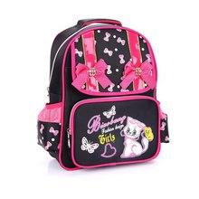 2016 NUEVA Grade1-4 Ortopédicos Transpirable lindo gato Bolsos de Escuela Primaria Niños rosa arco Mochila Adolescentes Niñas Mochila Mochilas