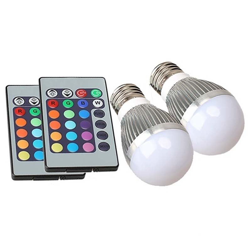 3W 16 Color Change LED Light Bulb with Remote Control E27 Base Cap [NF] HR