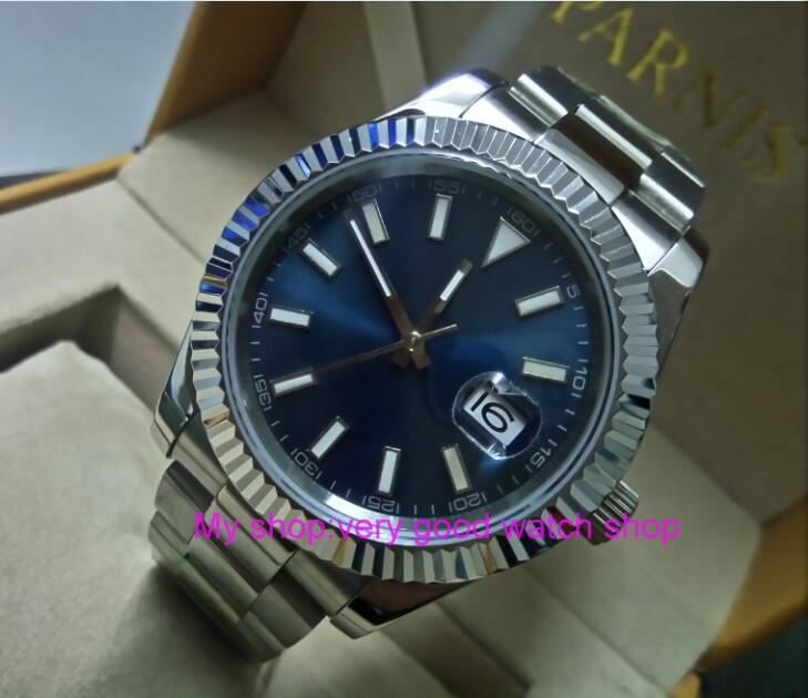 41MM PARNIS Blue dial Automatic Self-Wind movement Sapphire Crystal men's watch Mechanical Wristwatches 0140a 40mm parnis white dial automatic self wind movement sapphire crystal men s watch mechanical wristwatches 42sk