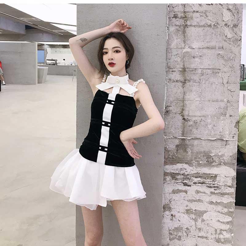 Femmes Sexy noir Punk Lolita débardeur avec tour de cou noeud papillon perles perles perles perles t-shirt sans manches Bustiers Club Harajuku Bandeau