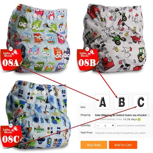 [Littles& Bloomz] Детские Моющиеся Многоразовые Тканевые карманные подгузники, выберите A1/B1/C1 из фото, только подгузники/подгузники(без вставки - Цвет: 08