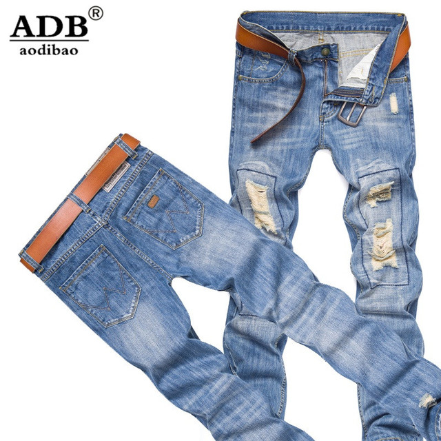 Aodibao 2016 Autumn Winter Ripped Hole Vintage Distressed Jeans Men Plus Size 5xl Biker Light Blue Designer Justin Bieber Jeans