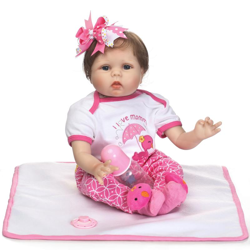 NPKCOLLECTION reborn babydoll 22inch with soft cloth body stuffed PP cotton real touch doll for children Gift on Birthday все цены