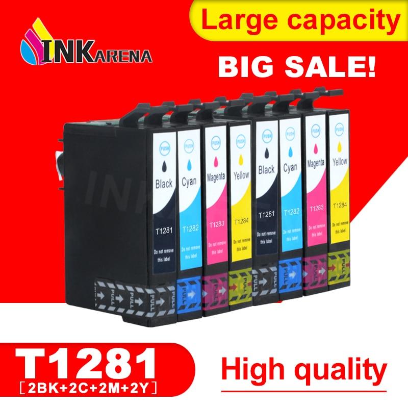 מחסנית stylus s22 - 2 SET 1281 Ink Cartridge For EPSON Stylus S22 SX125 SX130 SX230 SX235W SX420W SX425W SX430W SX435W Printer Full With Ink