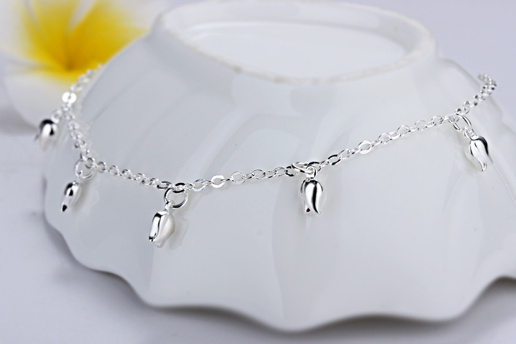 New Fashion Summer Sexy Silver Rose  Anklet for women  Pendant Chain Ankle Bracelet Foot Jewelry 4