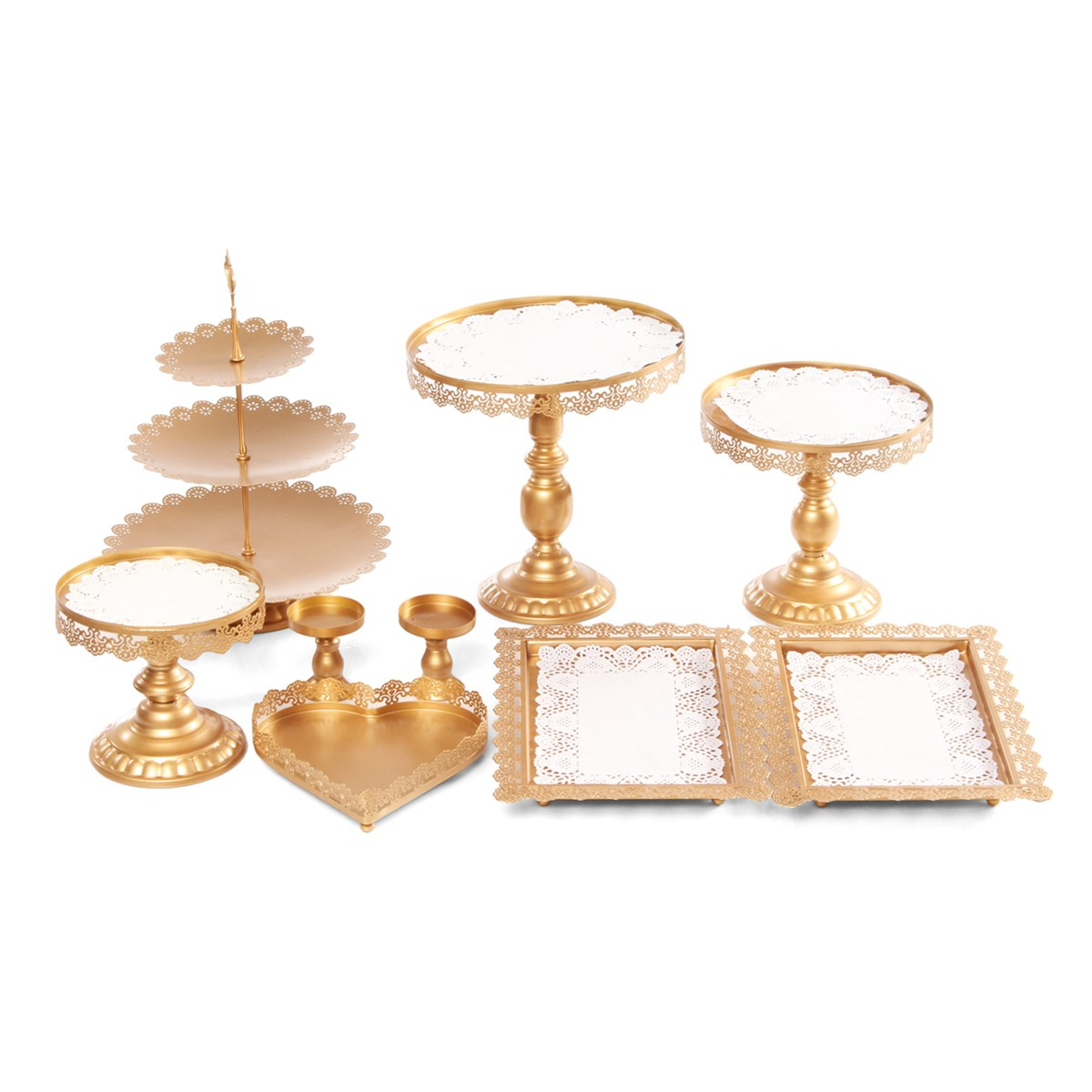 Vintage 9Pcs/Set Cake Stands Cupcakes Holder Party Birthday Dessert Display Serving Tray Rack Gifts DIY Wedding Decorations