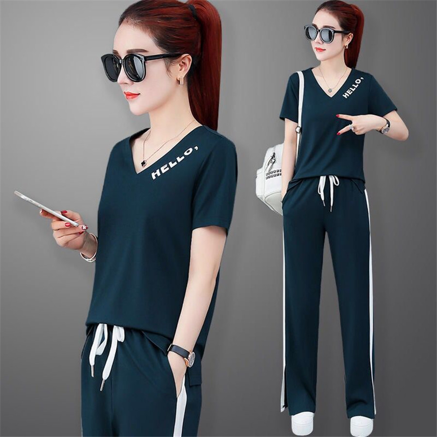 Women Sets Casual Tracksuit Newest Summer O Neck Short Sleeves Sporting Suit Two Pieces Sets Women Sportswear