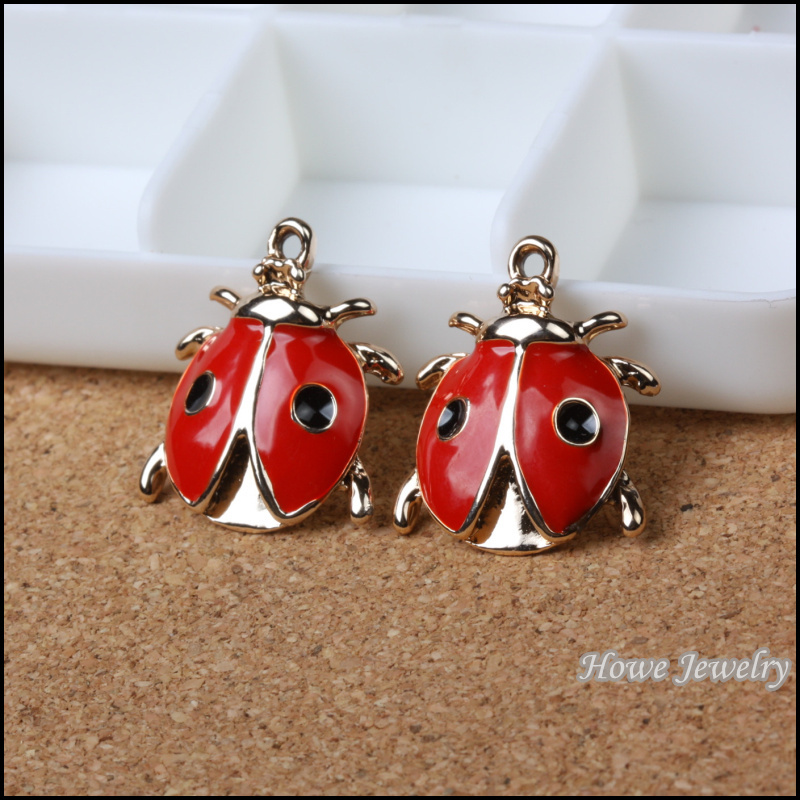 Wholesale 17 Pcs Enamel Alloy Gold Color Jewelry Ladybug