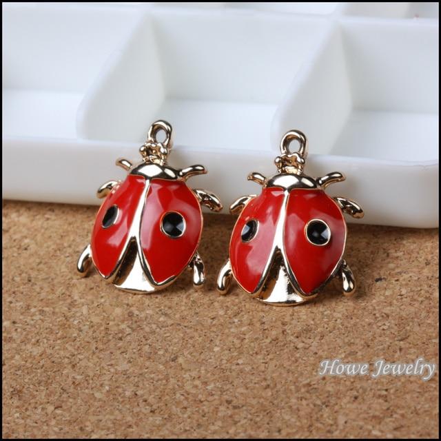 Wholesale 17 pcs enamel alloy gold color jewelry ladybug pendants wholesale 17 pcs enamel alloy gold color jewelry ladybug pendants charms for bracelet necklace diy aloadofball Images