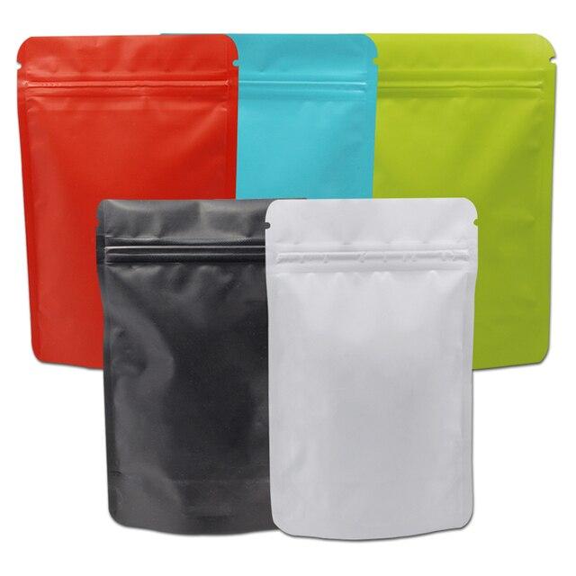 100 Pcs Stand Up Colorido Matte Pure Folha De Alumínio Zip Lock Saco Doypack Válvula Mylar Selo de Calor Embalagem de Café Em Pó sacos Zip