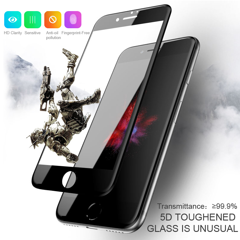 ESVNE 5D Tempered Glass for iphone 7 glass 6s 8 plus X XS 11 pro MAX XR Screen Protector For iPhone 6 Glass Full Cover Edge