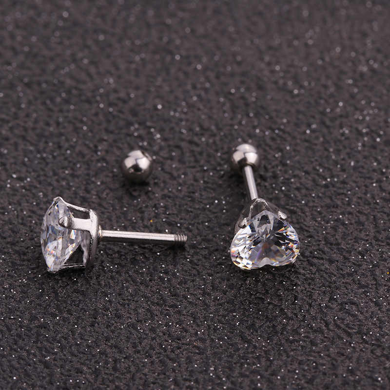 Sellsets 4/5/6 มม. คริสตัล Zircon Stud ต่างหู Tragus กระดูกอ่อนหูเจาะ 316L เหล็กผ่าตัดเครื่องประดับ helix Piercing