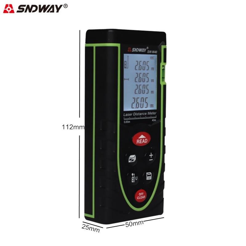 SNDWAY Laser-entfernungsmesser 40 Mt Digital-entfernungsmesser Band Bereich/volumen/Winkel Messen Laser-entfernungsmesser Construction Tools