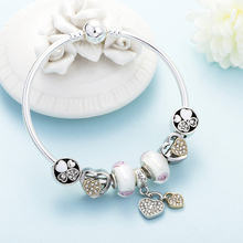 DINGLLY Fashion Charm Brands Bracelet & Bangles For Women Girls Flower Murano Glass Romantic Double Heart Lock Hanging