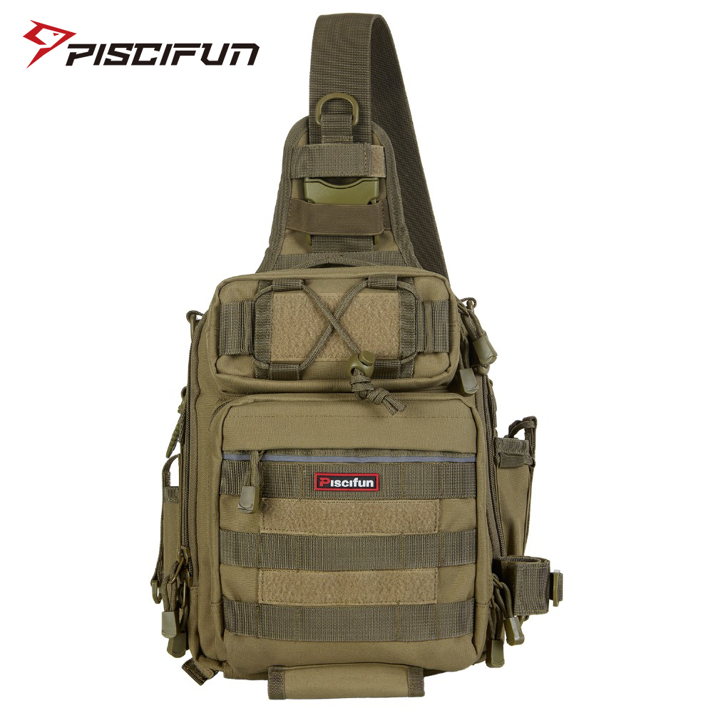 Piscifun Fishing Tackle Bag Waterproof Nylon 2 Sizes Single Shoulder Backpack Hand Chest Bag Outdoor Camping Hiking Huntting